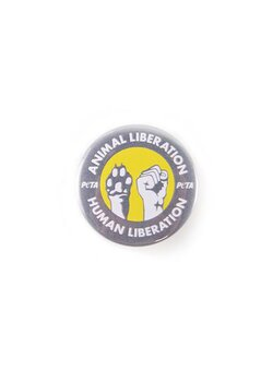Button PETA Animal - Human Liberation grau