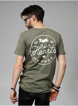 All Hearts Be Free T-Shirt gerade mid heather khaki