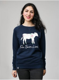 Tofu Saves Lives Sweater navy
