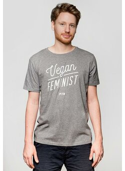 Vegan Feminist T-Shirt gerade mid heather grey