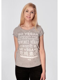 Go Vegan T-Shirt tailliert heather grey