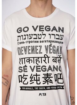 Go Vegan T-Shirt gerade white