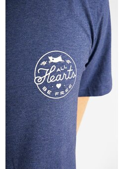 All Hearts Be Free T-Shirt gerade, dark heather indigo