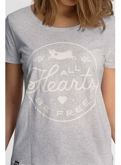 All Hearts Be Free T-Shirt tailliert heather ash