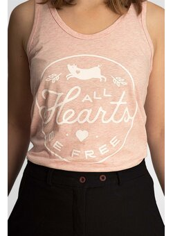 All Hearts Be Free Tank Top tailliert cream heather pink